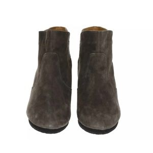Earthies Wedge Heel Booties Suede Retro Boots Grey